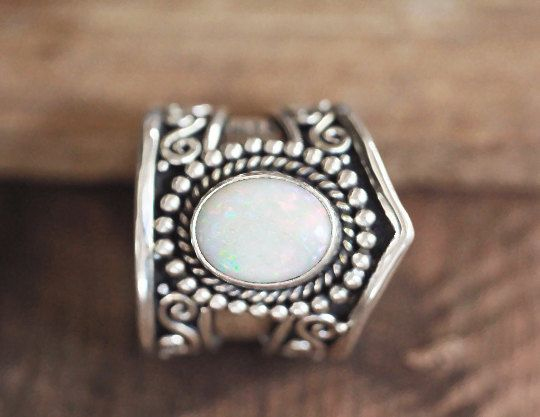 Large Natural White Opal Ring Solid 925 Sterling by DonBiuSilver