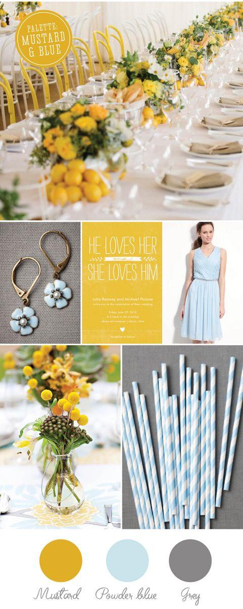 Lovely Wedding Magazine blog: Colour palette: mustard & powder blue