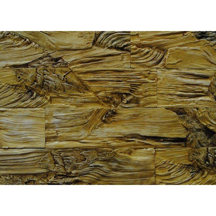 Гипсовый декоративный Древесный камень (wood stone), цвет: желтый.