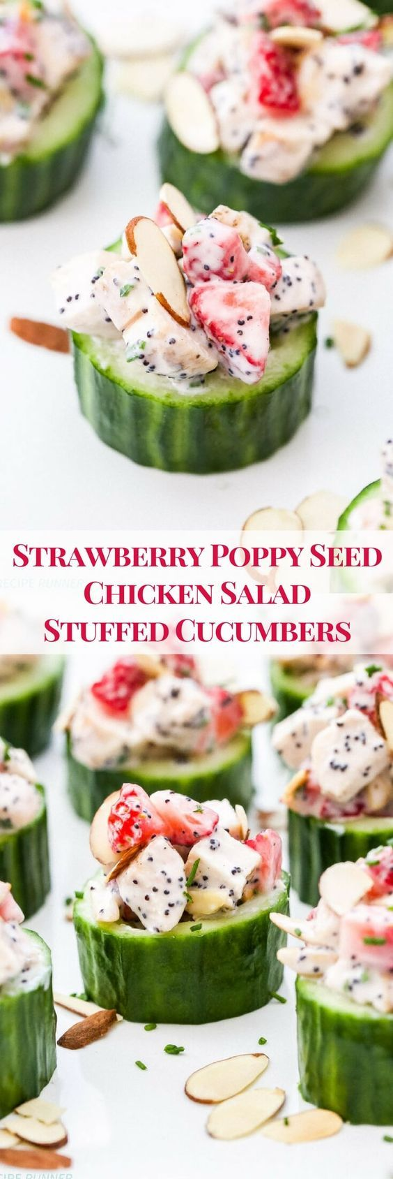 Whether you're looking for a low carb dinner or a fun new way to serve chicken salad at your next party or brunch, you'll love these healthy, creamy, Strawberry Poppy Seed Chicken Salad Stuffed Cucumbers!
