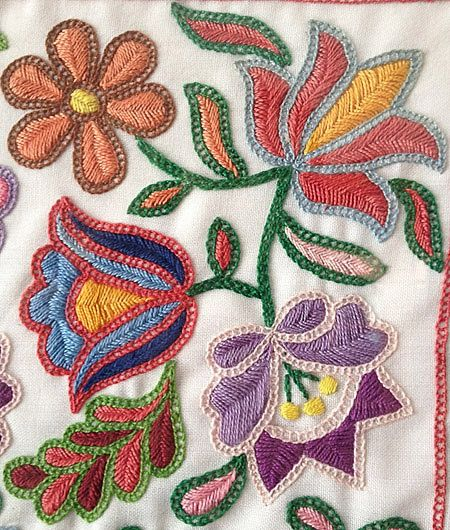 Supposedly Hungarian . . . really neat combo of stitches. Ladder/square chain stitch for outlining and fishbone? for filling.