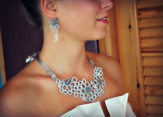 Bridal Crochet Necklace and Earrings Sterling by LavenderField, $100.00