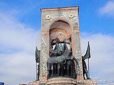 Close up of Independence monument in Taksim, Istanbul, Turkey.