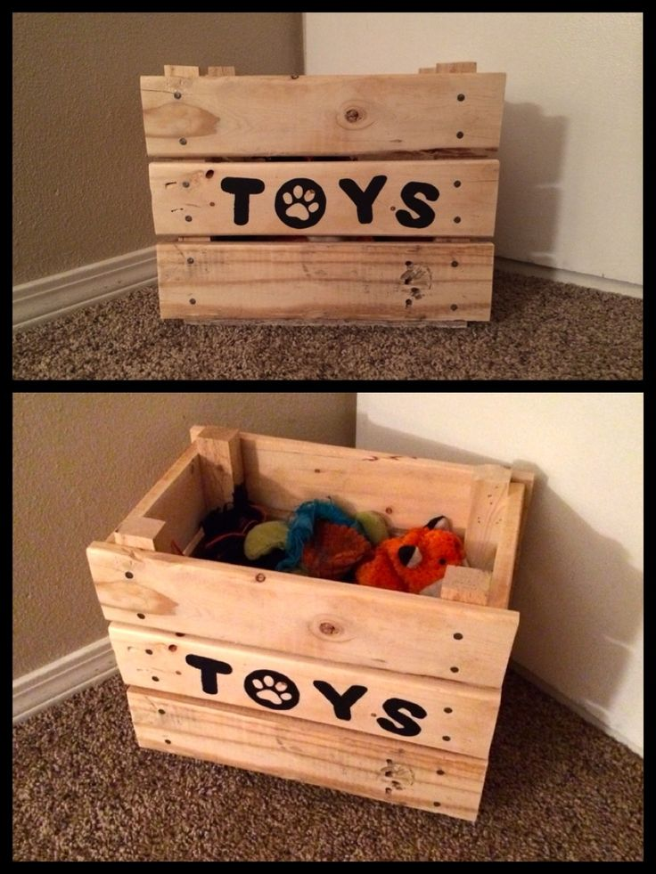 Needed a place to keep the puppy's toys so that they were accessible but not scattered all through the house...why not a toy box for the dog? DIY toy box made from up-cycled wooden pallets. I love the paw print 'o'!