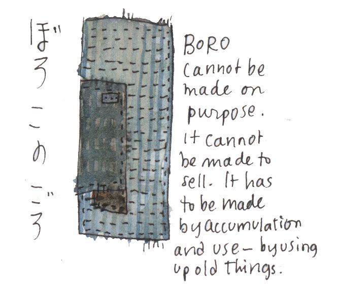 "From ohbara.com. I agree with this but would like to add that I think it is okay to make ""Boro-inspired"" objects and art. In doing so we are appreciating and honoring original Boro textiles and what they represent."