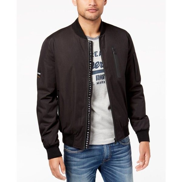 Superdry Men's Nova Surplus Goods Bomber Jacket ($60) ❤ liked on Polyvore featuring men's fashion, men's clothing, men's outerwear, men's jackets, black, mens jackets, mens flight jacket, mens blouson jacket and superdry mens jackets