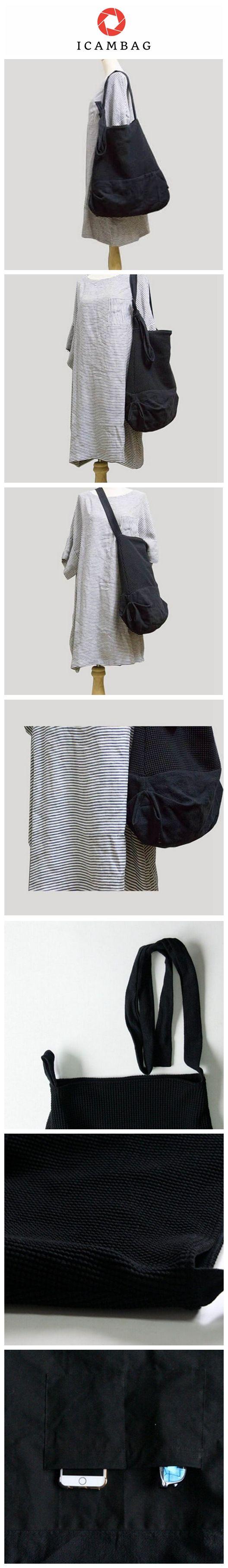 Black Cotton/Linen Single Shoulder Large Bag 00302