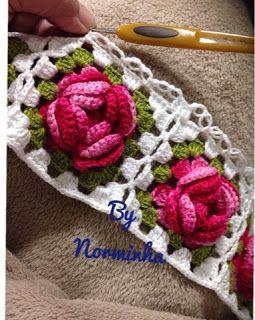 """Ponto Preso1: Croche - Rosas barradas com """"Ponto Segredo""""..."""