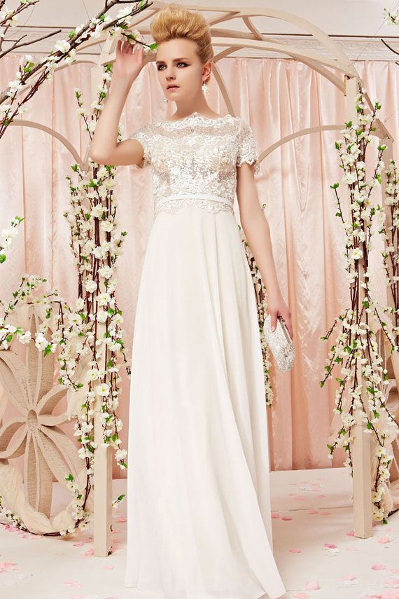 Cap Sleeve Lace Chiffon Wedding Dress with by ElliotClaireDresses