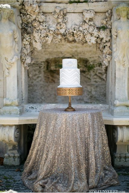 Table cloth matches the surroundings and sets of the cake perfectly