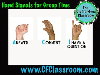 "so smart!  Use ""hand signals"" Students raise an ""a"" for an answer ""c"" for a question, and an ""i"" for when they have a question.  Teacher can see what type of comment/question they have to share, and it helps students determine if they should share or not."