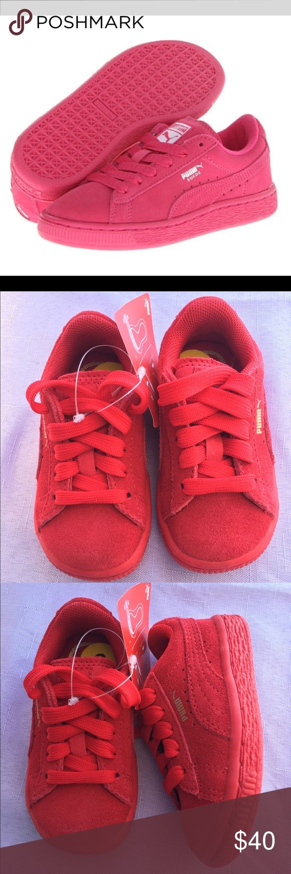"""Puma kids shoes!! Kids puma shoes, color red suede, size toddler 5 and 6, """"brand new"""" Puma Shoes Sneakers"""