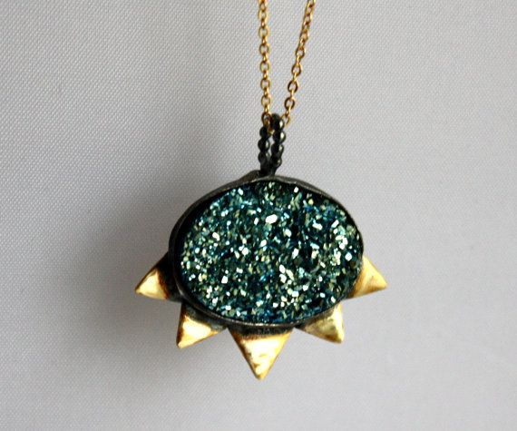 Teal Blue Green Drusy with Triangles by RachelPfefferDesigns,
