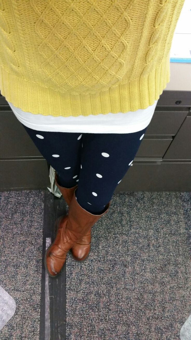 https://www.facebook.com/lularoealicooper You see me ROEin.   LOVE THIS OUTFIT.  Navy and white polka dot Lularoe leggings, white tank, butter yellow sweater and tall Carmel boots .