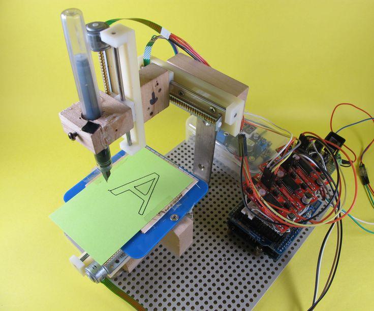 http://www.instructables.com/id/Arduino-Mini-Pen-Plotter/
