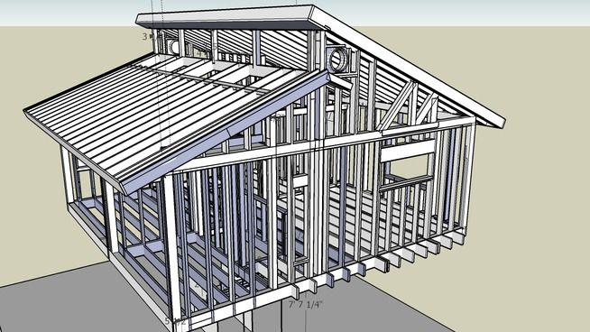 House Frame Upper Story Clerestory Roof And Windows Clerestory Framing House Unfinished House Roof Design Roof Design Shed Roof Design