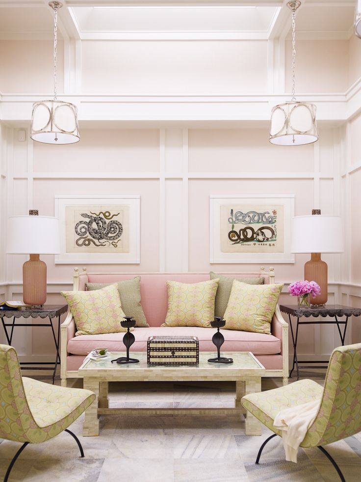 Pink and yellow pastel colors work well in this living room. (by Hillary Thomas)
