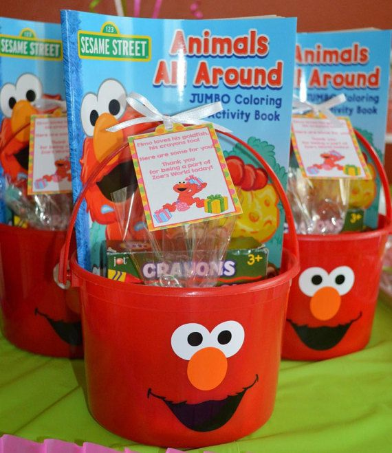 Set of 6 Elmo Buckets / Party Favor / Goodie by PartiesandGoodies