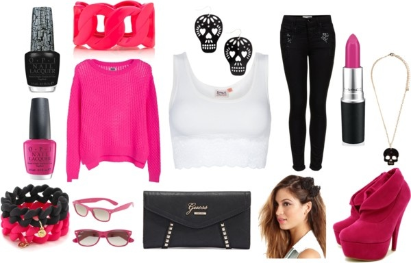 """hot pink cas"" by nicole-beal on Polyvore"