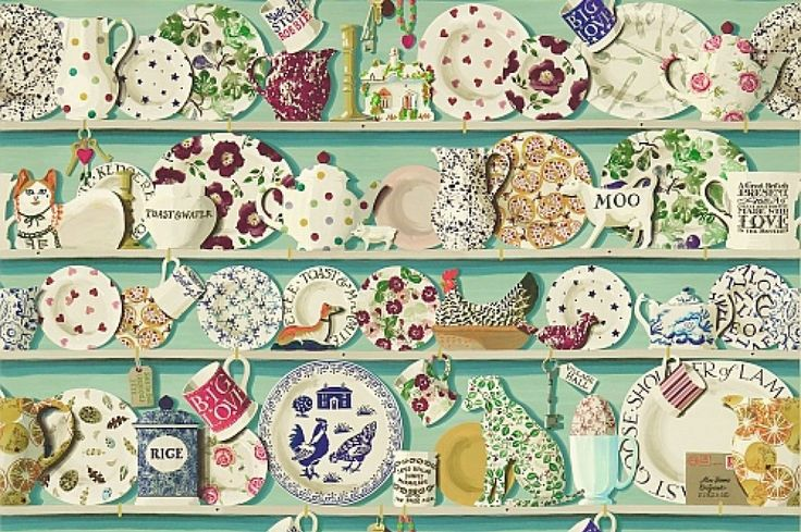 The Dresser (213649) - Emma Bridgewater Wallpapers - An amazing digital print featuring Emma Bridgewater pottery, set on wooden dresser shelves – perfect for creating your own country dresser style in any home. Sold by the METRE untrimmed, this extra wide width wallpaper is 137cm wide and each pattern repeat is 91cm high.  You must purchase enough individual repeats to complete your wall.  Two colourways available – this one has the duck egg background. Paste the wall product. Please do ask…