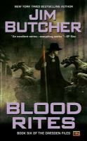 Blood Rites by Jim Butcher Book 6 in Dresden Files Series Harry Dresden is a wizard living in Chicago.  He takes a case as a favor to his friend Thomas- a vampire, only to become the prime suspect in a series of ghastly murders.  Nicole.