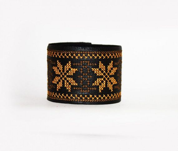 Ethnic Embroidered Leather Bracelet  Brown and by EtnoWareStore
