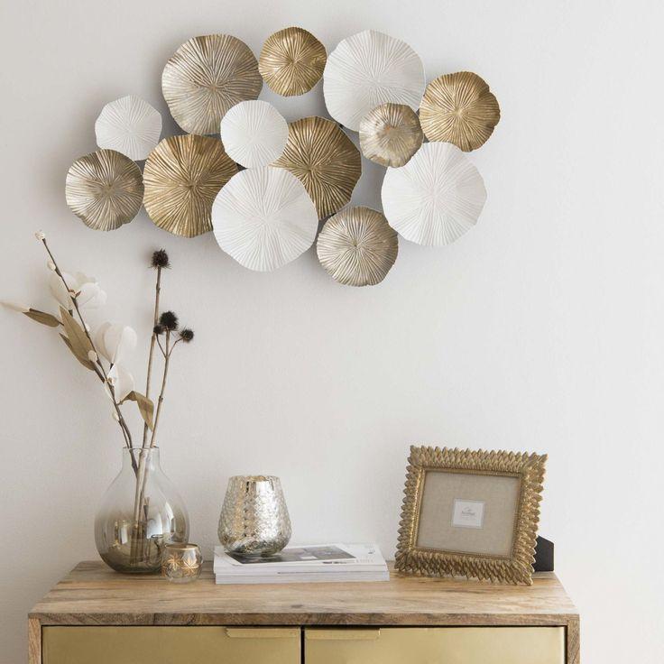 Wanddeko aus Metall, weiß und goldfarben 45×69 | Maisons du Monde