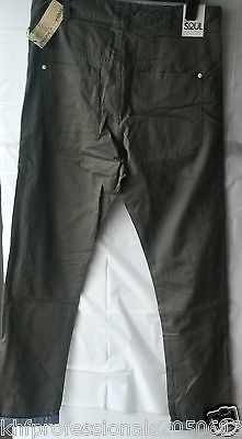 55 SOUL MEN TROUSER  MTR SPACE AUTHENTIC SOFT CHINOS SLIM FIT GREEN LENGTH 34R