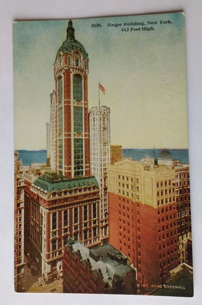 C 1910 Singer Building New York - 612 Feet High Post Card - LUCKYBUCK Stamp Box