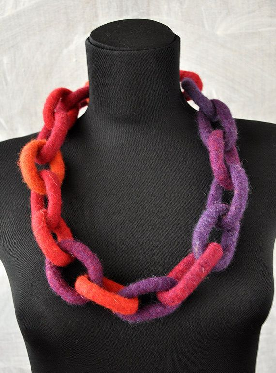 Felt Necklace. Chunky Chain Link Felted Necklace. by sanagiros, $46.00