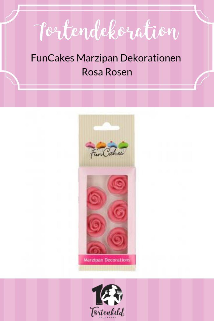 FunCakes Marzipan Dekorationen Pink Roses 6er Set   – Tortendeko | Verzierung | Backen
