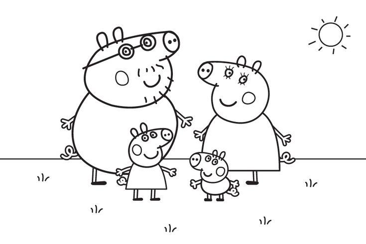 Dibujo de Peppa Pig para colorear. Familia