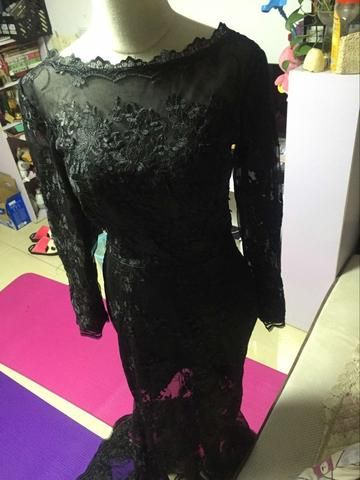 D229 Black Lace Long Sleeve Evening Dresses, Sexy See Through Evening Dresses  Sale price$155.00