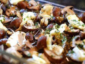 Knoflookchampignons met brie, krieltjes en spekjes uit de oven