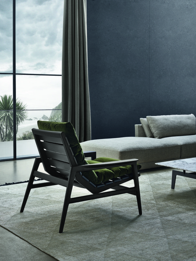 Poliform_Ipanema armchairs with solid wood structure in spessart oak finishing, seat cushions in nubuck leather.