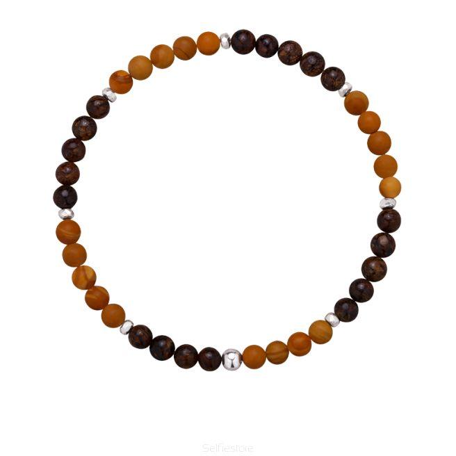 Bransoletka męska / kamień drewniany / bronzyt / srebro - Selfie Jewellery - Sklep Internetowy