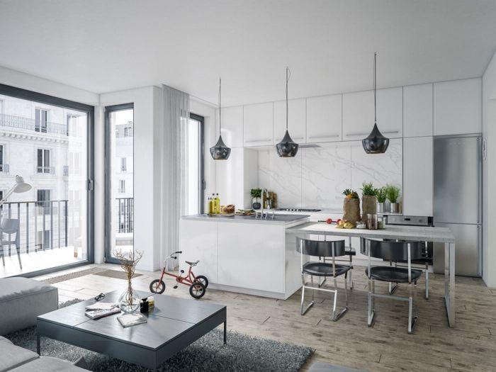 Mesas De Cocina Grandes | 25 Melhores Ideias De Salones Con Cocina No Pinterest Mueble