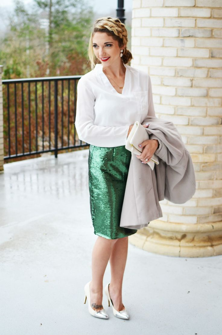 holiday christmas party outfit sequined pencil skirt m
