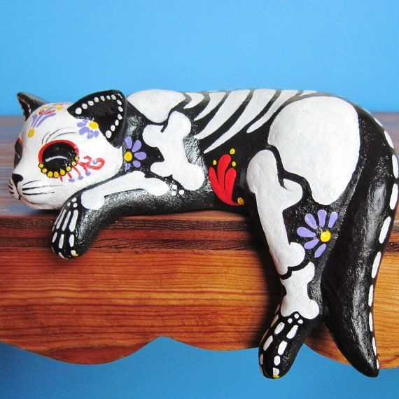Day of the Dead CAT SKELETON Kitty Altar Statue by illustratedink