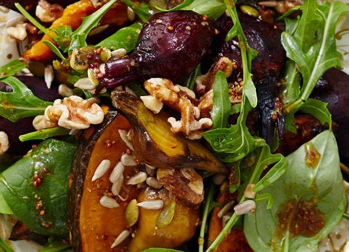 Roast beetroot and pumpkin salad with walnuts and rocket