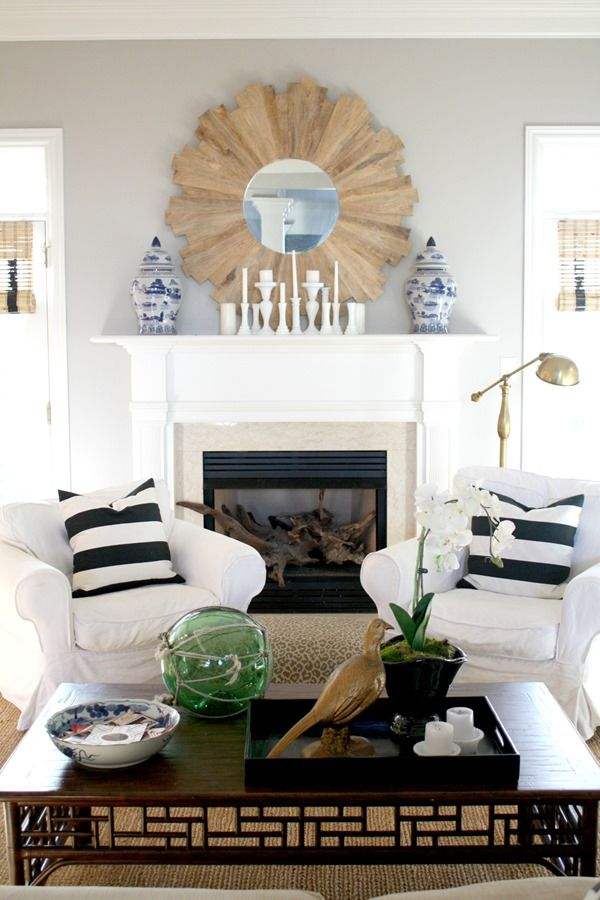 Our January Living Room (neutral, black and white, sunburst mirror, fretwork coffee table, blue and white)