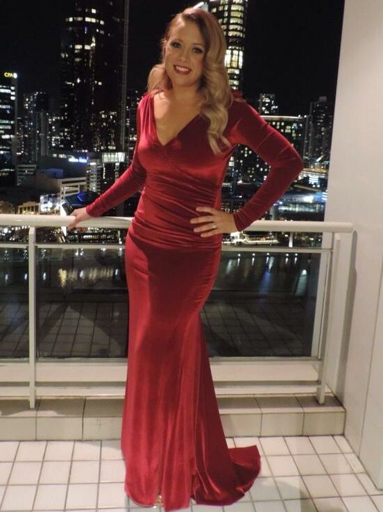 My stunning client in her red velvet engagement party dress.
