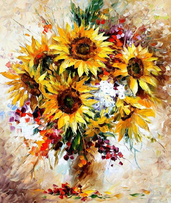 I love this! Happy Sunflowers PALETTE KNIFE Still Life Oil by AfremovArtStudio