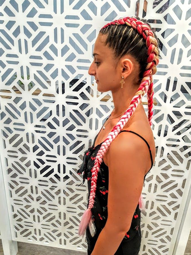 Red And Pink Dutch Braids Festival Hair Braids Dutch Boxer Braids Dutch Braid Hairstyles