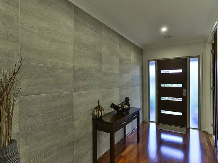 Modern Hallway Decor With Large Tiled Walls, Timber