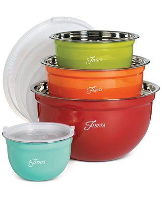 Fiesta Stainless Steel 8-Pc. Lidded Mixing Bowl Set - Serveware - Dining & Entertaining - Macy's