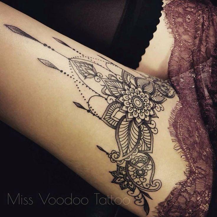 Stylish Mandala Flower Tattoo On Thigh By Courtney Corson