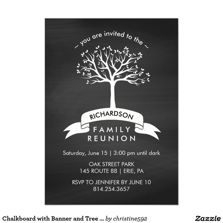Chalkboard With Banner And Tree Family Reunion Invitation