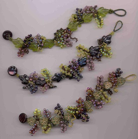 Margo C Field - amazing vineyard bracelet - GRAPES!!!