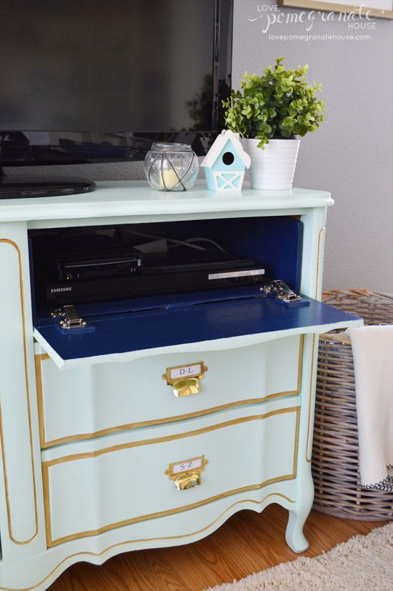 How to create a flip down media drawer on a dresser. Love the colors, too.